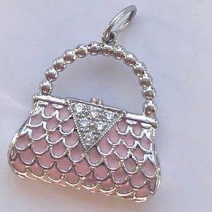 NWOTPlatinum Diamond Purse Pendant Pink Enamel New